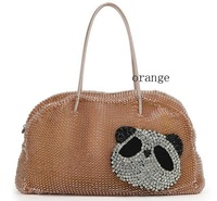 Guaranteed 100%Best sellingFree shipping tote bag panda style shoulder Bags wire Bags/weave bags(orange)