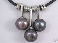 5 PC freshwater culture 7-8mm BLACK PEARL PENDANT Necklace 100% free shipping