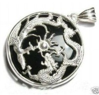 3 PC Pure Black jade dragon phoenix pendant necklace 100% free shipping