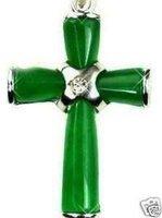 3 PC Beautiful Green Jade Cross Pendant Necklace 100% free shipping