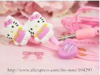 Free shipping 25pcs/lot Hello Kitty stero earphone with heart shape