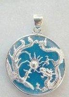 3 PC Tibet amulet Blue jade pendant necklace 100% free shipping