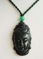 3 PC Rare tibet Black jade Lucky Buddha Head Pendant 100% free shipping