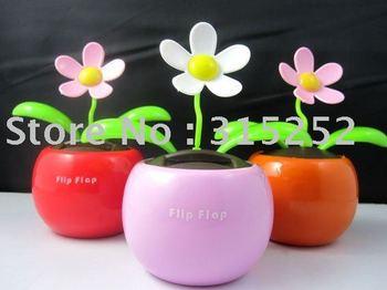 20pcs/lot Magic Cute Flip Flap Swing Solar Flower,Green,Blue,Pink Solar Plant Swing Solar Toy