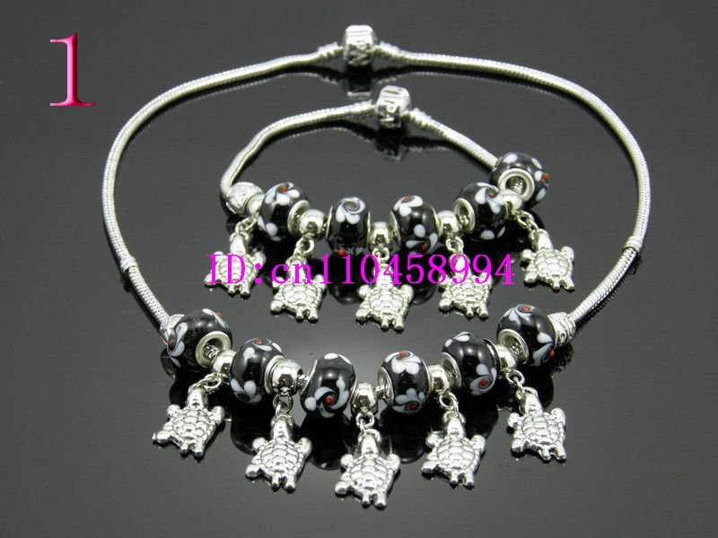 Free Shipping 925 Sterling silver beaded necklace bracelet set(China (Mainland))