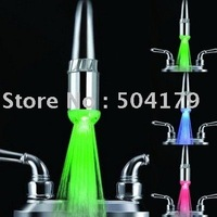 Freeshipping (No battery) led faucet lights.According to water temperature change three colors (green blue red) hot!!!