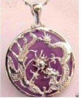 Rare violet jade dragon phoenix pendant necklace shipping free