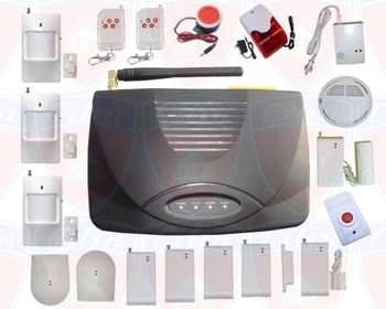 Wireless GSM Home security Alarm Systems + Free shipping + 2 Remote control + 4 Door sensors + 3 PIR detector        CL-D008(2L)
