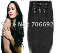 "22"" 22inch #1 100g / set Full Set Straight Indian Remy Clip On In Hair Extensions DHL Shipping"