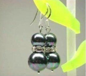 5 PC Lustrous black shell pearl earring Free shipping(China (Mainland))