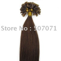 "22""remy nail tip human hair Extensions 100s #04 medium brown,0.6g/s"