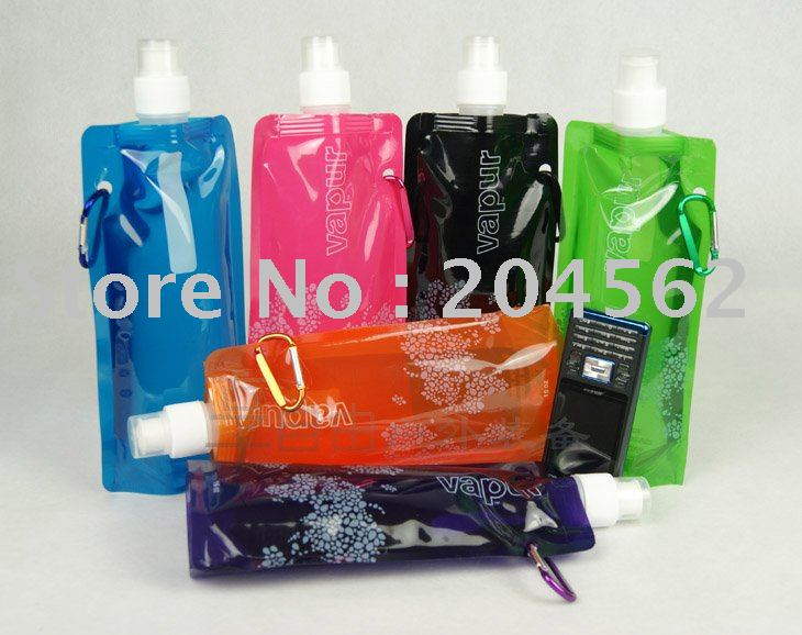 Portable folding compartment/environmental protection water bottles/outdoor folding sports ice packs / 6 color can be chosen(China (Mainland))
