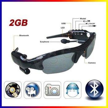Sunglasses Camera Hidden Built in 2GB Card. MP3 Bluetooth Mini HD DV DVR Camera+free shipping