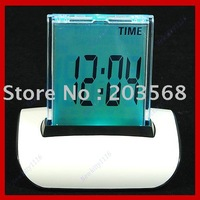 Free shipping!5 pieces /lot Push Panel 7 Color Changing LCD Clock Thermometer Date