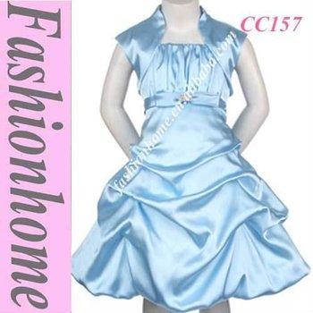 Strap Girl party dress , kids dress offer jacket, Formal girl dress CC157