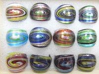 Free Shipping 12pcs/lot Fashion Mix Color Lampwork Glass Ring RI1*