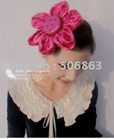 Free shipping 100%hand made fashion Party hat ,lady hat , sun flower red hat