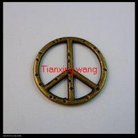 120 pcs/lot 25mm peace sign shape bronze color alloy pendants charms Free shipping wholesale