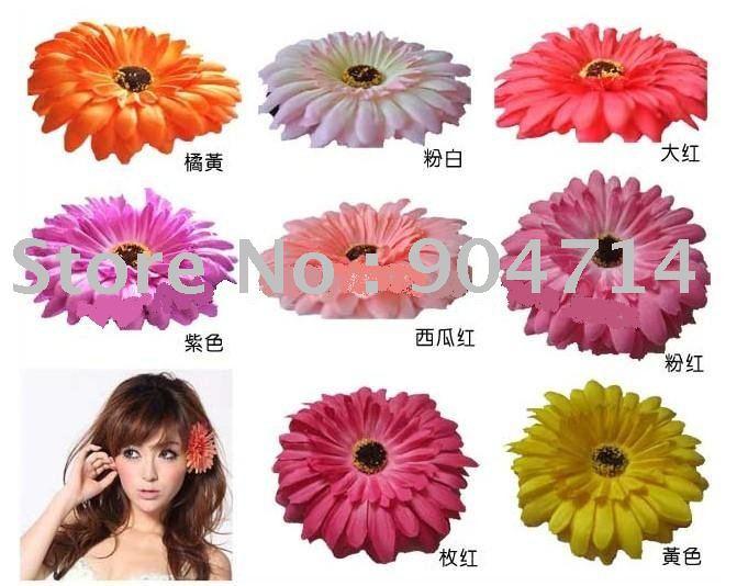 anéis por atacado da flor da margarida Africano headpin / flor BB cabelo / bolsas e acessórios de vestuário / flores artificiais / 8 cor / tamanho D10cm(China (Mainland))