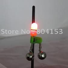 Free Shipping 200pcs/lot Fishing Rod Twin Bell Bite alarm+ Red Led Light+ Batteries(China (Mainland))