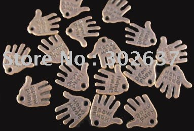 FREE SHIPPING 360pcs Antiqued copper plt &quot;HAND MADE&quot; hand charms A73C(China (Mainland))