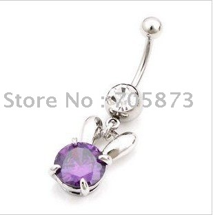 Free shipping Wholesale Surgical Stainless Steel Belly Navel Stud Rings Chain Purple WhiteRabbit body piercing jewelry/10pcs/lot(China (Mainland))