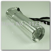 1pcs/lot New Wholesale 9 LED 3AAA Battery Lamp Torch Light Flashlight for Camping Hiking Silver hot sell
