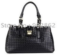 Wholesale - NEW Free Shipping fashion ladies leather Woven handbag black 6793 shoulder bags
