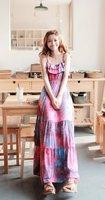 Free Shipping New Women's Dress Strap Ruffle Multicolor Flowers Girls Floral Top Fancy Dresse/1pcs Bohemia dress whosale