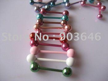 Free shippment LOT30pcs Body Piercing Coloful Mix Size Tongue Ring Bar