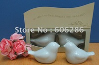 180pairs/lot wedding souvenirs and gifts ceramic love birds in the window salt and pepper shakers Free shipping