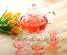 800ml Pumpkin Glass Coffee/Tea Pot+ 4pcs Double-wall Cup+ Warmer, Good Gift, B06SD, Free Shipping