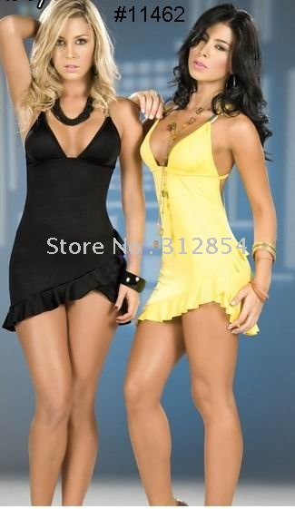 Free Shipping Sexy V neck College Girls' Yellow Color Jupe Party ...