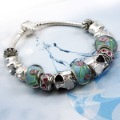 Free shipping New Fashion Style Handmade Charm Beaded Silver Women Bracelets Bangle Best Gift For Mother  PA1019