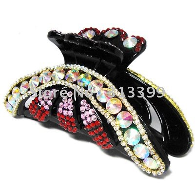 Free Shipping 50pcs/lot crystal black hair clip clamp comb wholesale(China (Mainland))