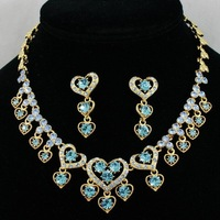 Free Shipping,Blue Love Heart Fashion Crystals Necklace Earring Set,Love jewelry set