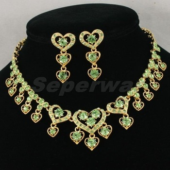 Free Shipping,Green Love Heart Fashion Crystals Necklace Earring Set,Lover Gift jewelry set