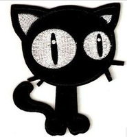 Black Cat Punk/Goth Embroidered Applique Iron On Patch Kids Children Patch wholesale free shipping