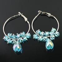 Chic Ladies Blue Tear Drop Crystal Ear Rings/Dangle Earrings Hook, Accept Paypal/OEM/Mix Order/Wholesale