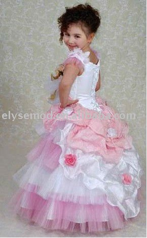 Cute toddler ball gown hot pink and white flower girl dresses(China (Mainland))