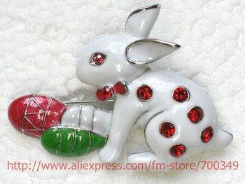 Wholesale 12piece/lot Red Crystal Rhinestone Enamel Easter bunny Rabbit Pin Brooch C391 C