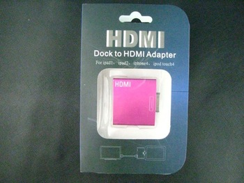 Hot Pink Dock Connector to HDMI/USB Adapter for Smart phone Free shipping