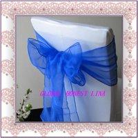 free shipping  royal blue organza sash /chair cover sash /chair sash /square end organza sash