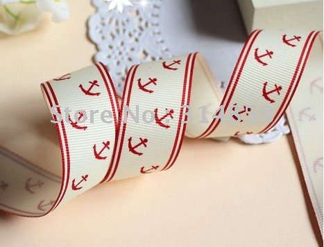 "Free shipping 1"" Grosgrain ribbon naticual anchors print ribbon,Red Color(China (Mainland))"