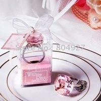 Free shipping to Europe, 100/lot wedding gifts of pink crystal diamond key ring