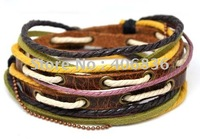 Wholesale health bracelet leather and hemp adjustable length fashion leather bracelets D0006