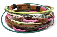 Free shipping fashion bracelet jewelly genuine leather bracelet Mulicoloured handmade leather  braided leather bracelet  D0008