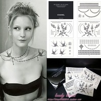 2011 New tattoo sticker 100% good quality ,Waterproof chain bird pearl flower design+free shipping Aramex to UAE +DHL to USA