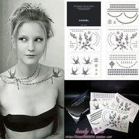2011 New tattoo sticker 100% good quality ,Waterproof chain bird pearl flower design+free shipping Aramex to UAE +DHL to USA