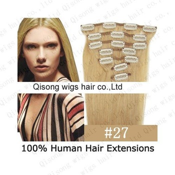 "Drop shipping 1 set 15"" 7pcs/set clip in human hair extension #27,remy hair, 70g/set"